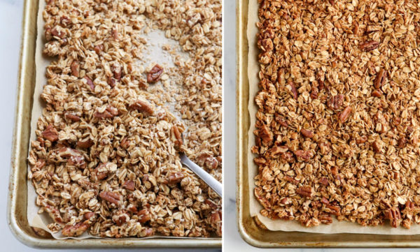 baked granola looking lightly golden in pan