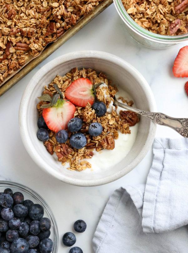 gluten free granola on pan