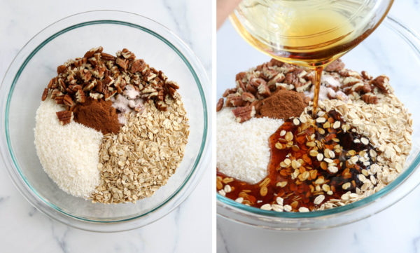 healthy granola ingredients in glass bowl