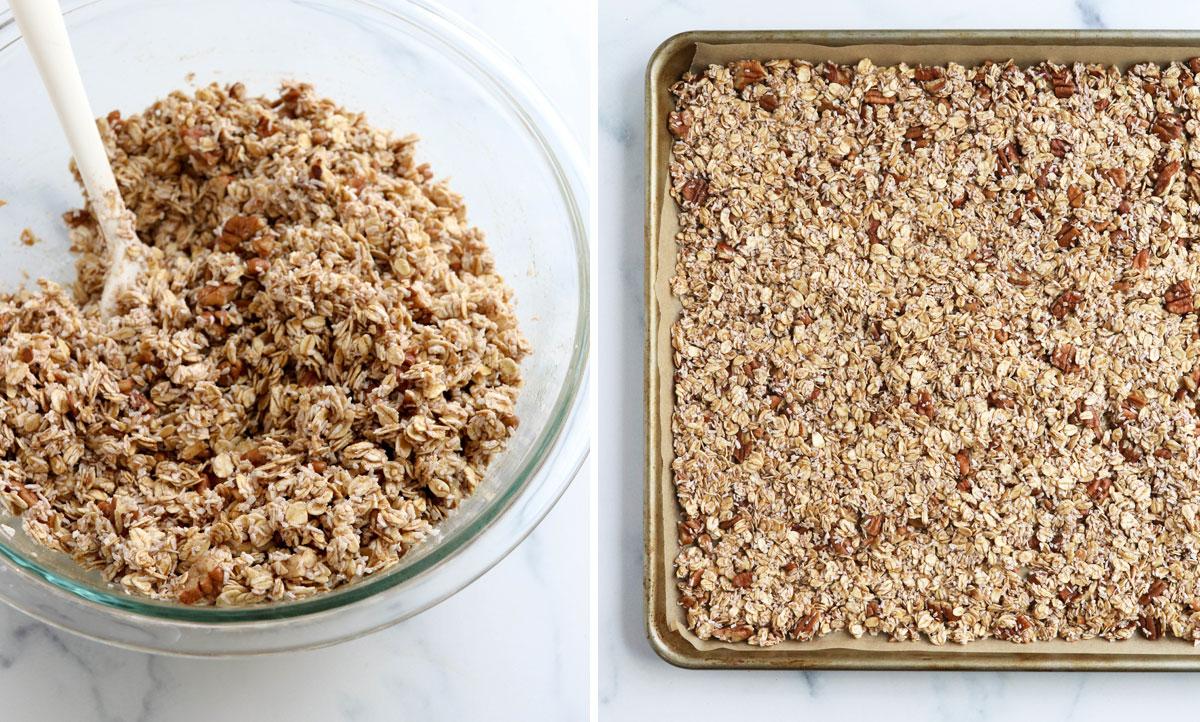 granola mixed and pressed into sheet pan
