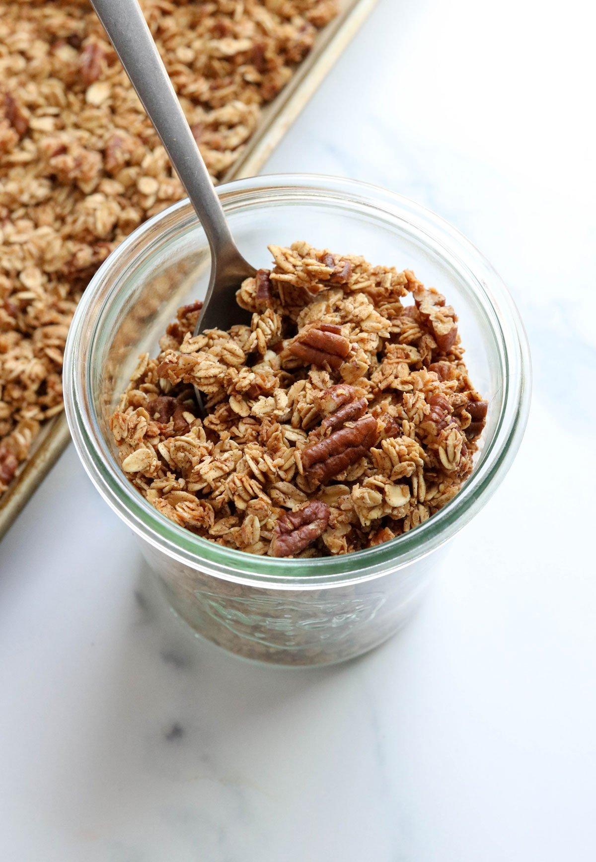 baked granola in glass jar