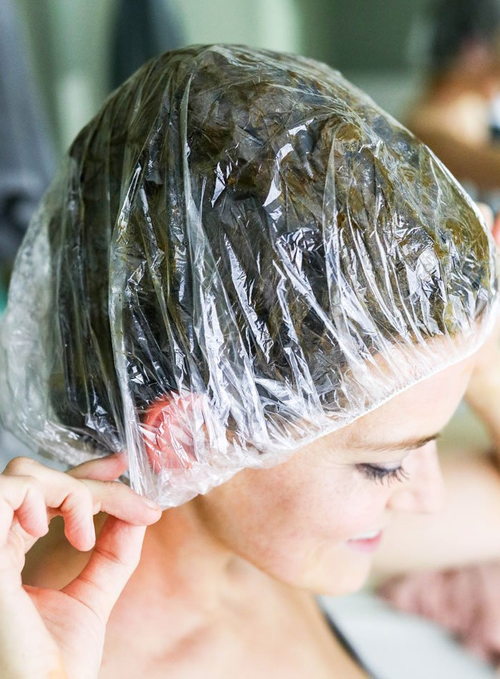 henna hair dye shower cap