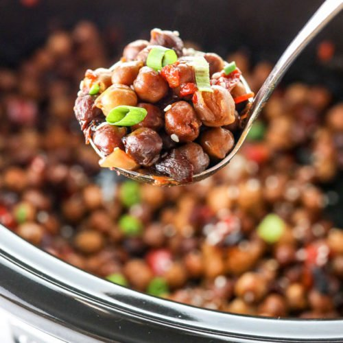 kung pao chickpeas in spoon