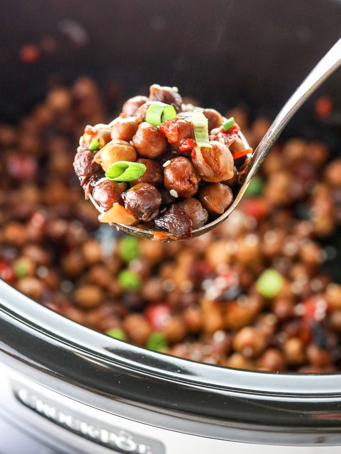 slow cooker kung pao chickpeas (vegetarian dinner)