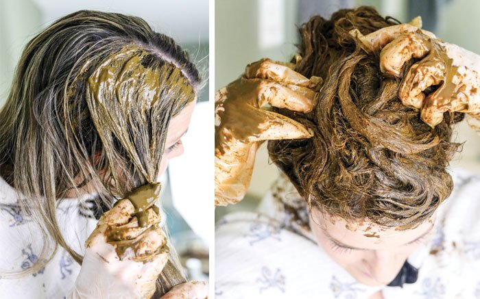 henna hair dye mud in hair