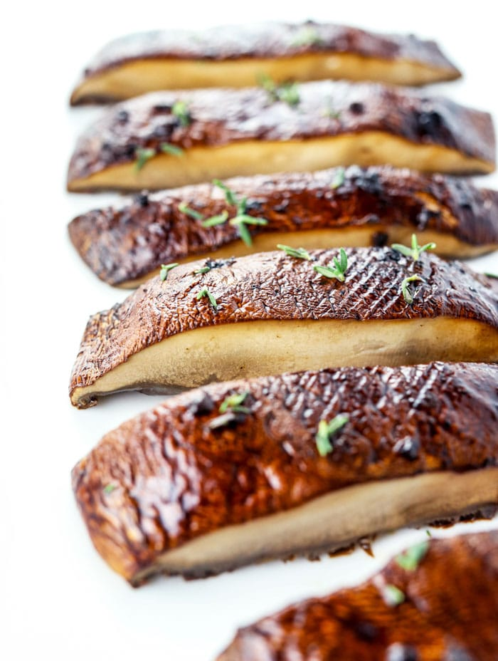sliced baked/ roasted portobello mushrooms