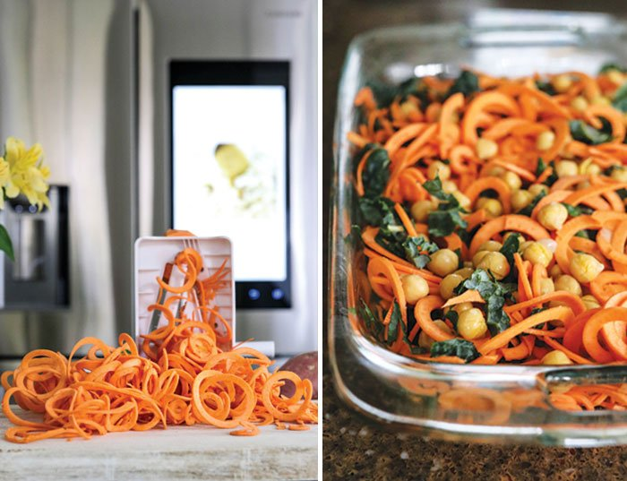 sweet potato noodles in spiralized and a close up of the finished dish pre baking