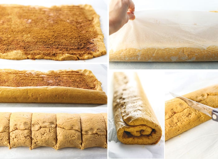 rolled out dough steps including wrapping in parchment paper and cutting with knife