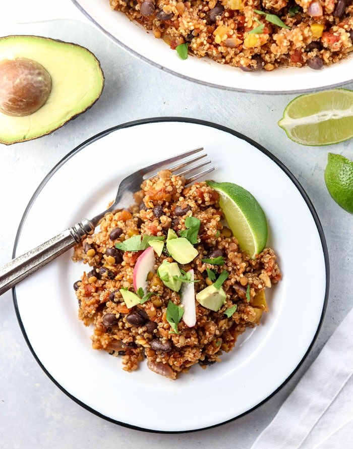 quinoa enchilada casserole with black beans and avocado