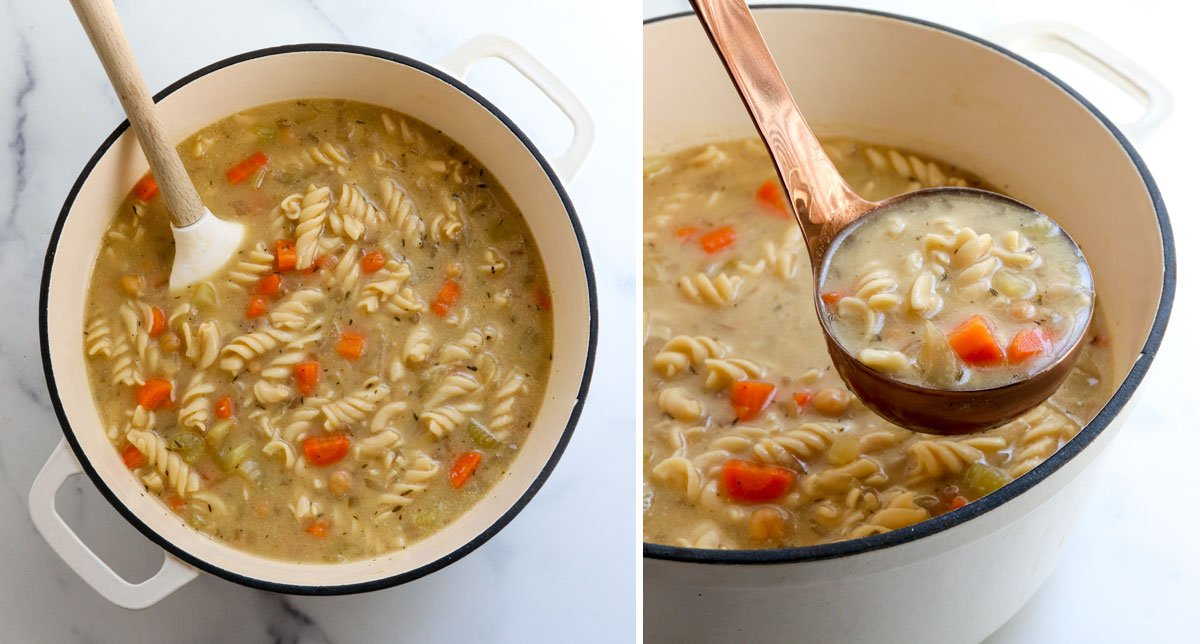 cooked soup scooped in ladle