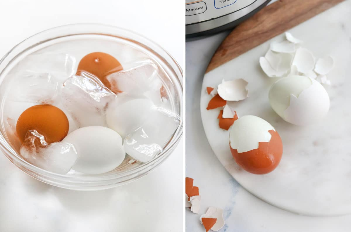 hard boiled eggs in a bowl of ice water and peeled
