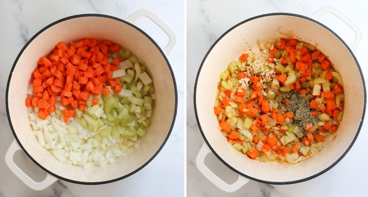 sauteed veggies and herbs in pot