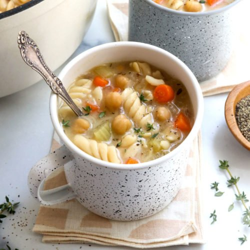 chickpea noodle soup in 2 mugs