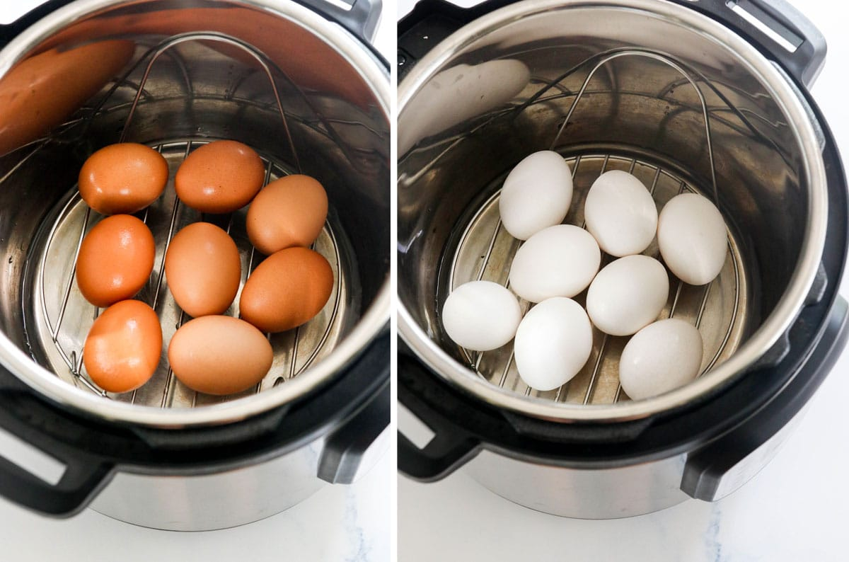 brown eggs and white eggs in the Instant Pot