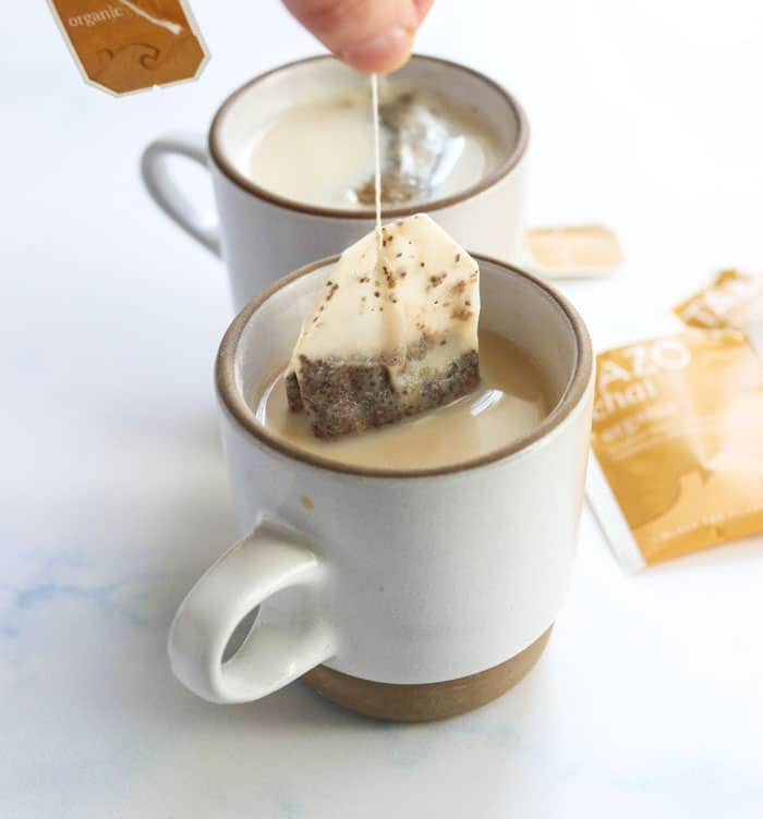 tea bag in a chai latte mug