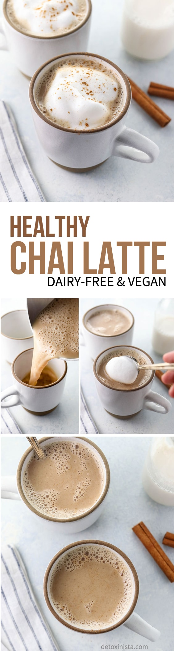 This HEALTHY CHAI LATTE recipe is dairy-free and naturally sweetened, made with pure maple syrup and almond milk. It takes less than 5 minutes to prepare on the stove and is caffeine-free! #dairyfree #healthyrecipe