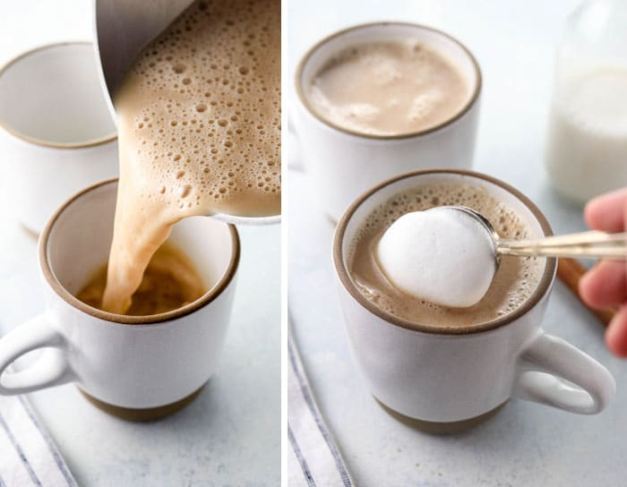chai latte pouring into cup and topped with foam