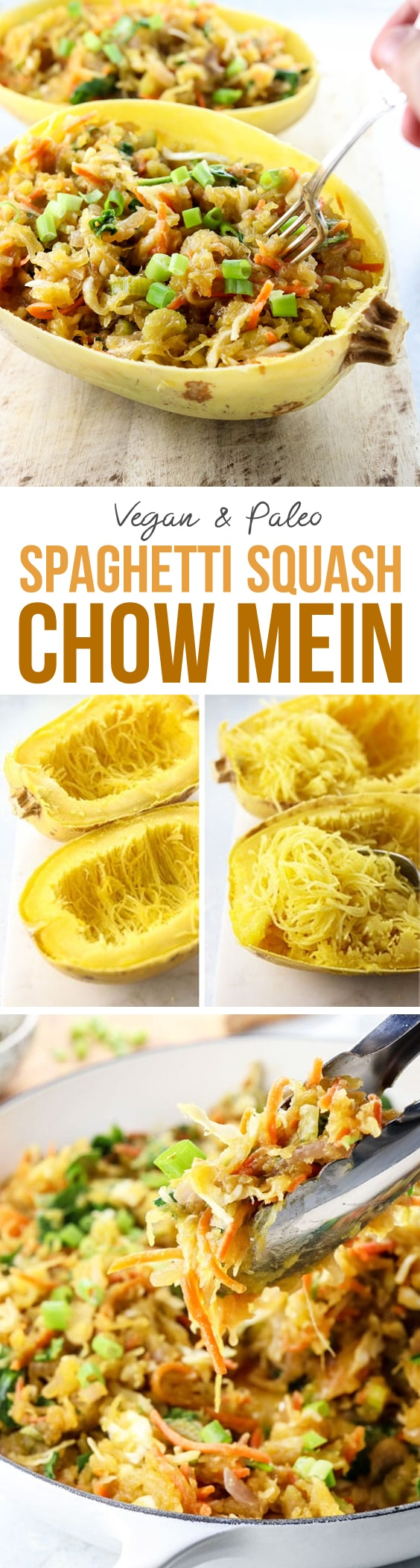 Spaghetti Squash Chow Mein makes an easy vegan or vegetarian dinner. It's made with low-carb
