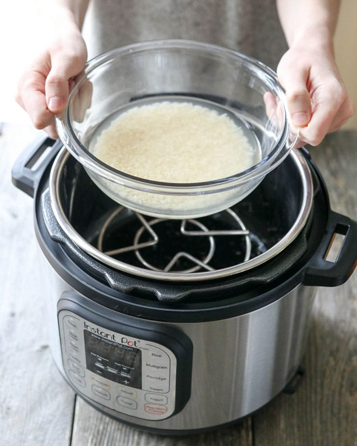 hands holding bowl of rice over Instant Pot