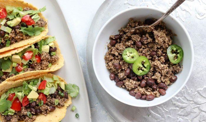 vegan taco meat with jalapenos on top