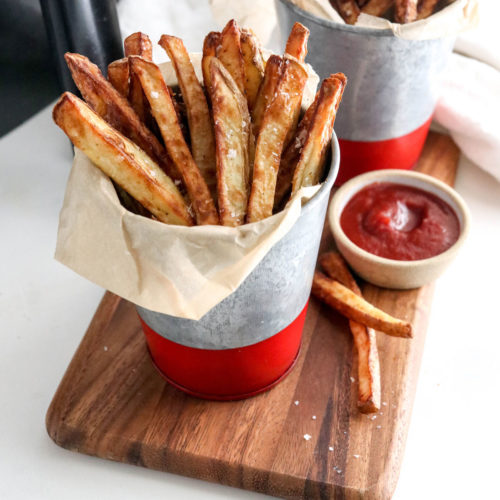 air fryer fries served with ketchup