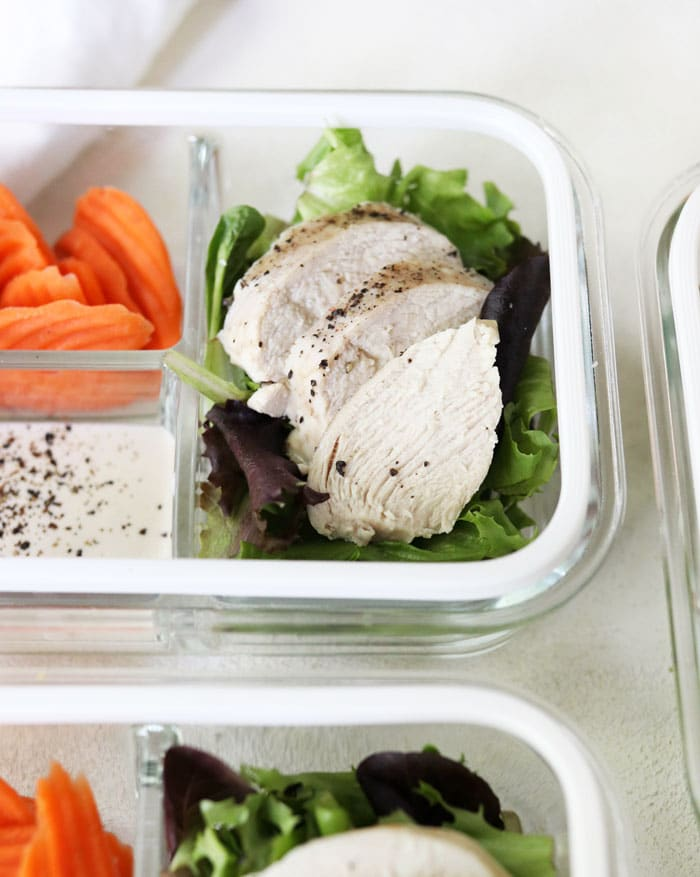 sliced chicken in a meal prep container