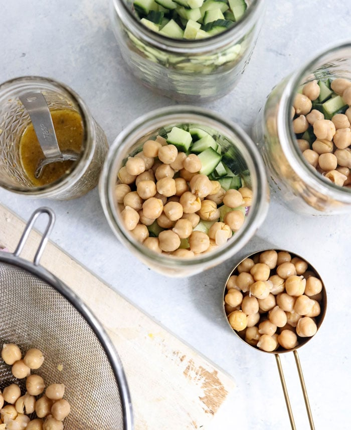chickpea salad in mason jars