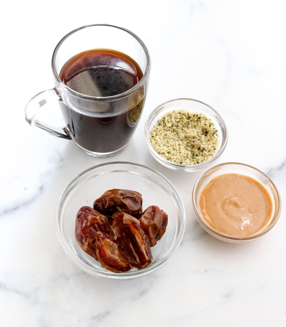 coffee smoothie ingredients on marble surface