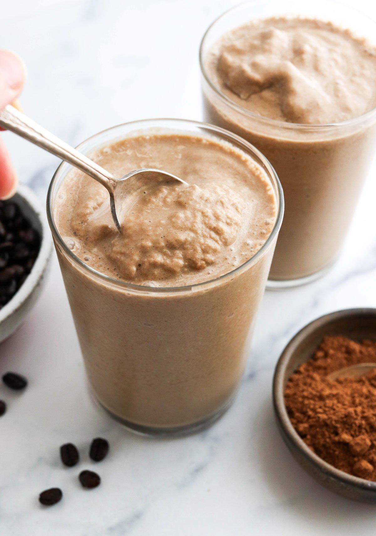 slushy texture of coffee smoothie on spoon