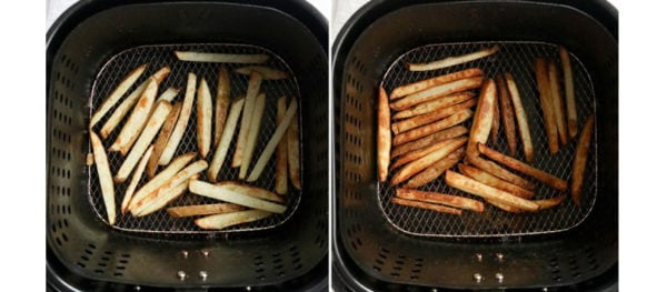golden french fries in air fryer basket