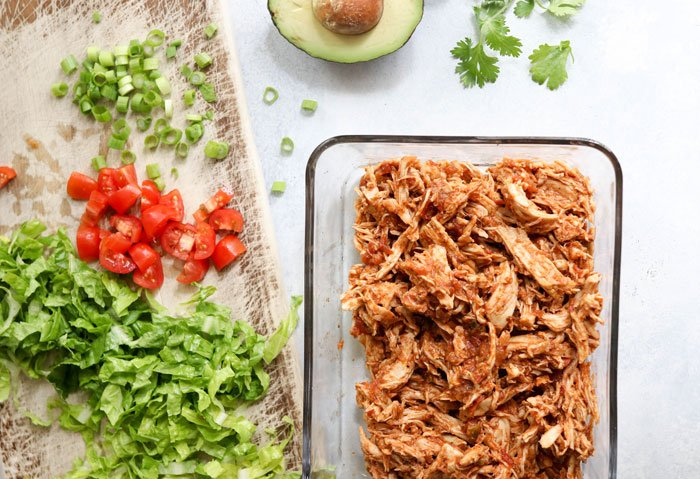 shredded chicken and taco toppings