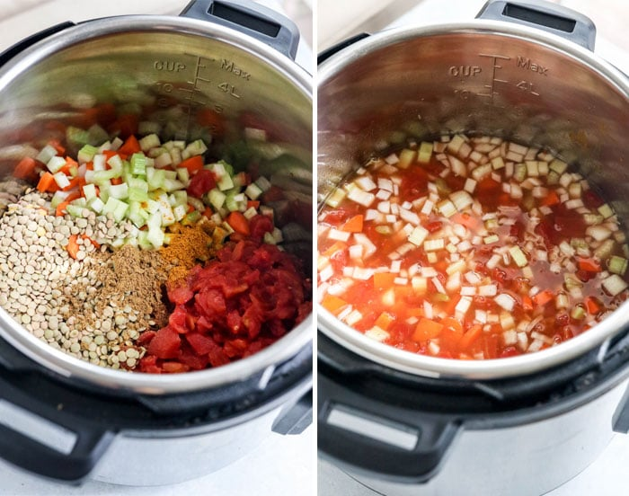 instant pot full of soup ingredients