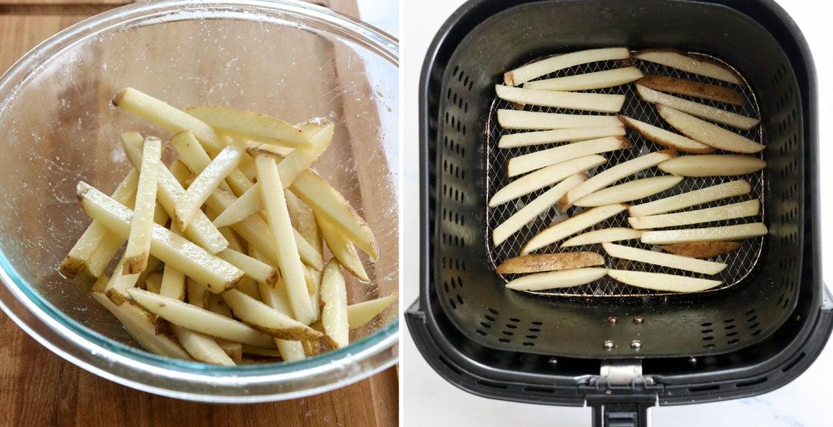 seasoned fries in air fryer basket