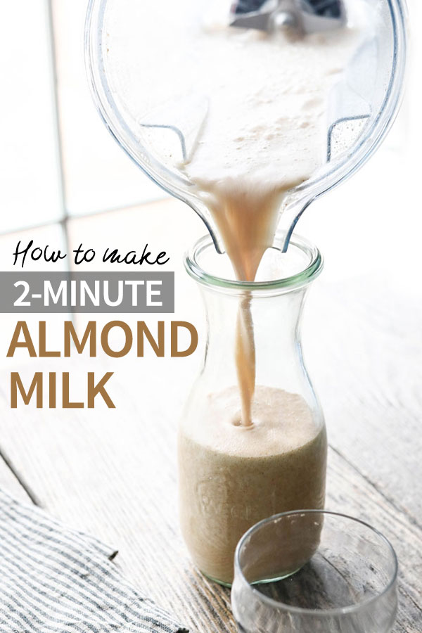 This fast & easy almond milk recipe is made with almond butter, water, and dates for a quick dairy-free milk that you don't have to strain. Use it for grain-free cereal, granola, chia pudding, smoothies and more! #almondmilk #paleo #vegan #dairyfree #healthyrecipe #easyrecipe