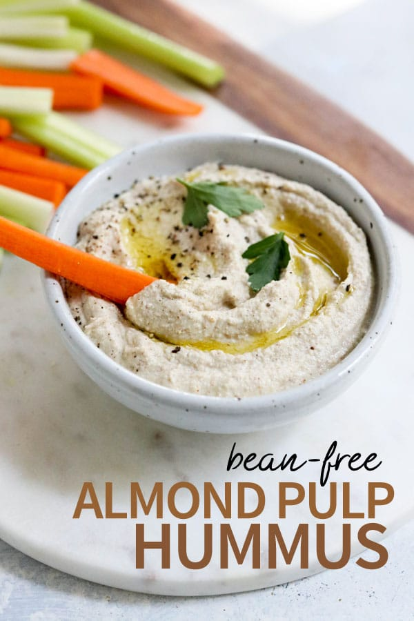 This easy hummus recipe is an easy way to use the almond pulp leftover from making homemade almond milk. It tastes just like the real thing, without beans! #almondmilk #almondpulp #vegan #dairyfree #grainfree #paleo #detox #recipe #healthy #weightloss