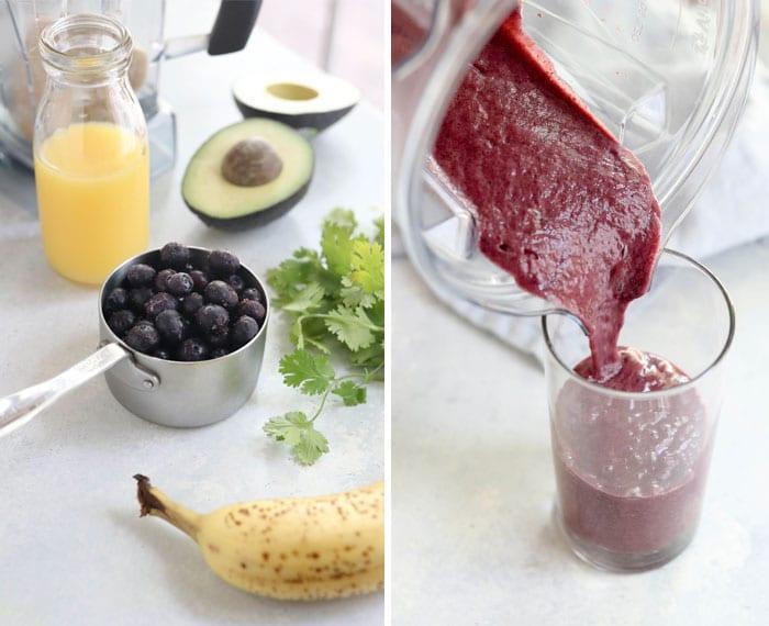 detox smoothie ingredients blueberries cilantro