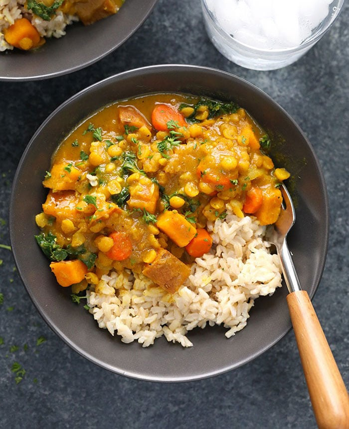 instant pot sweet potato curry in a bowl