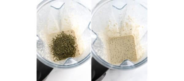 dried herbs added in blender