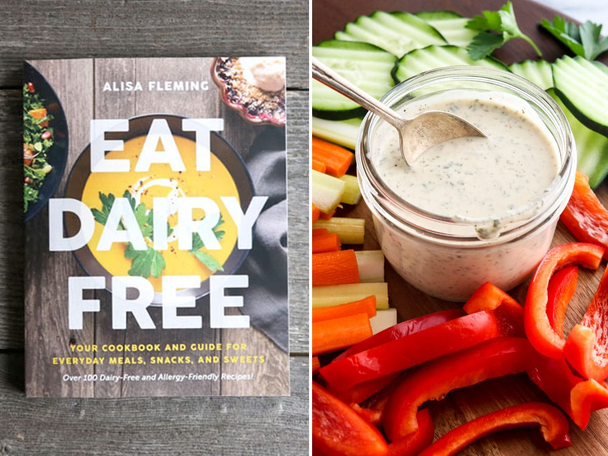 dairy free book and ranch dressing on spoon