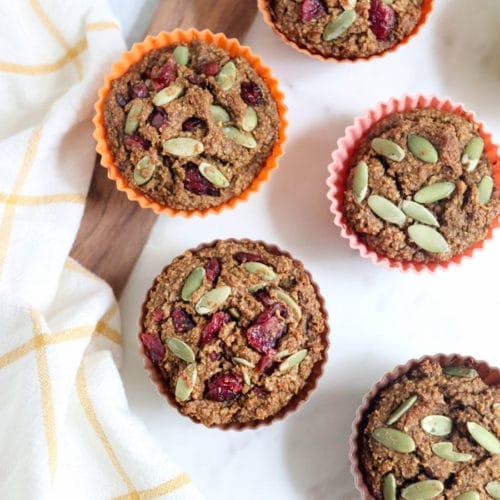 overhead healthy pumpkin oatmeal muffins