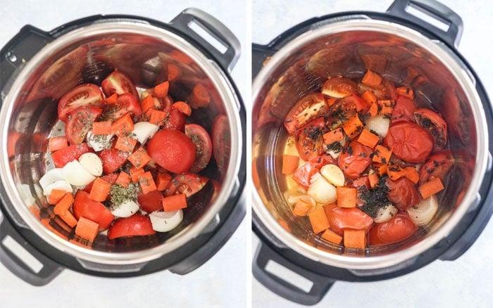 fresh tomato spaghetti sauce ingredients in Instant Pot