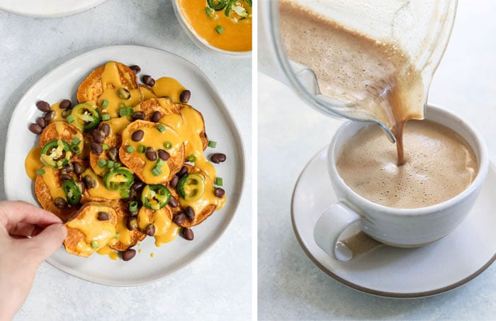 dairy free nachos and latte