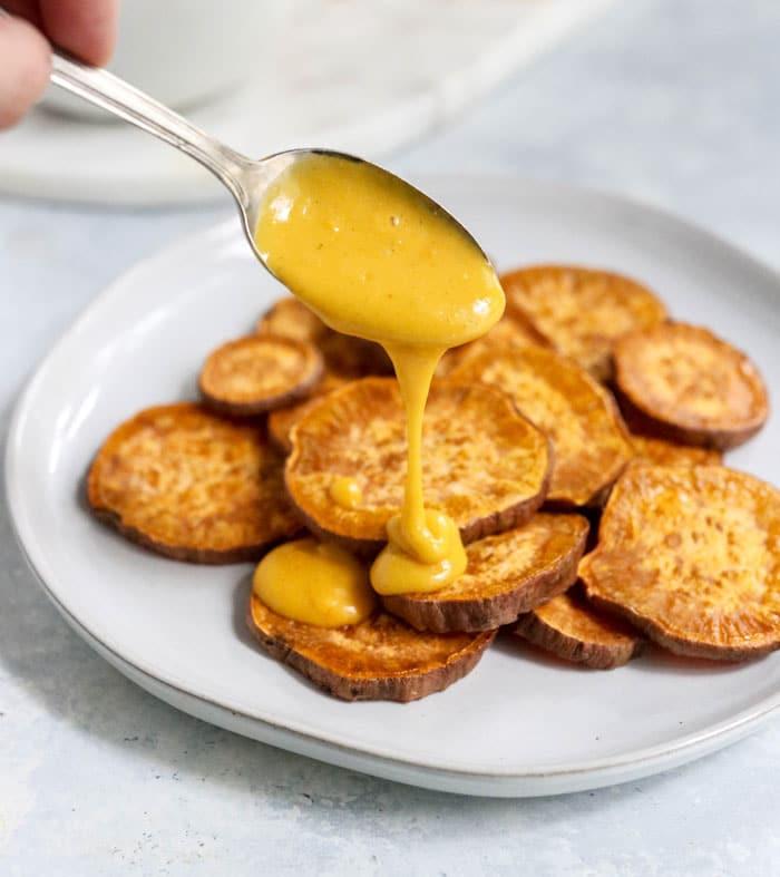sweet potatoes and vegan cheese