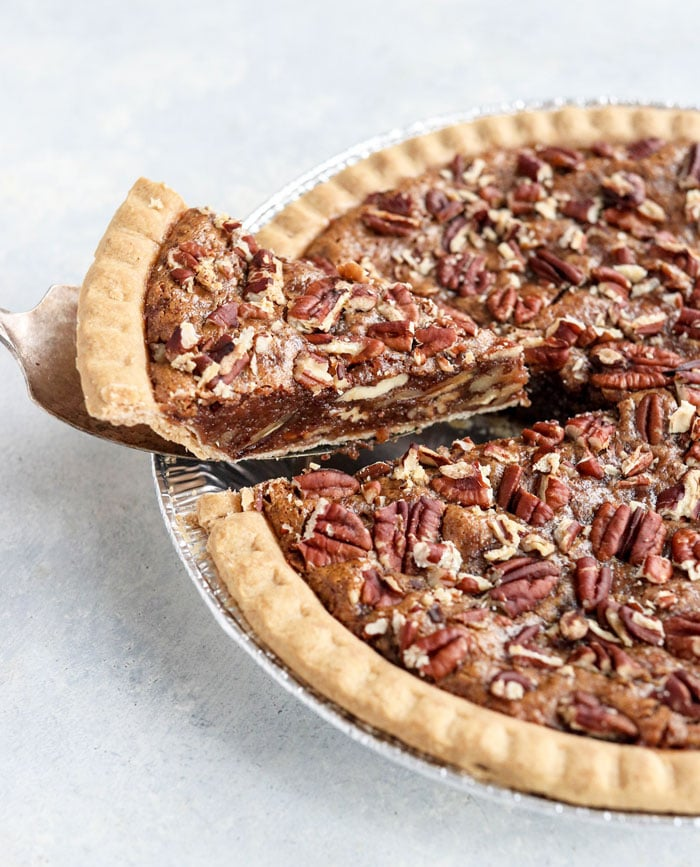 vegan pecan pie slice