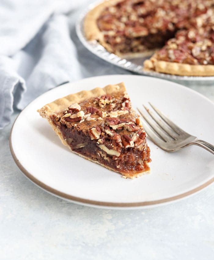 pecan pie slice with filling