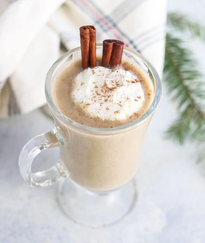 vegan eggnog with cinnamon stick