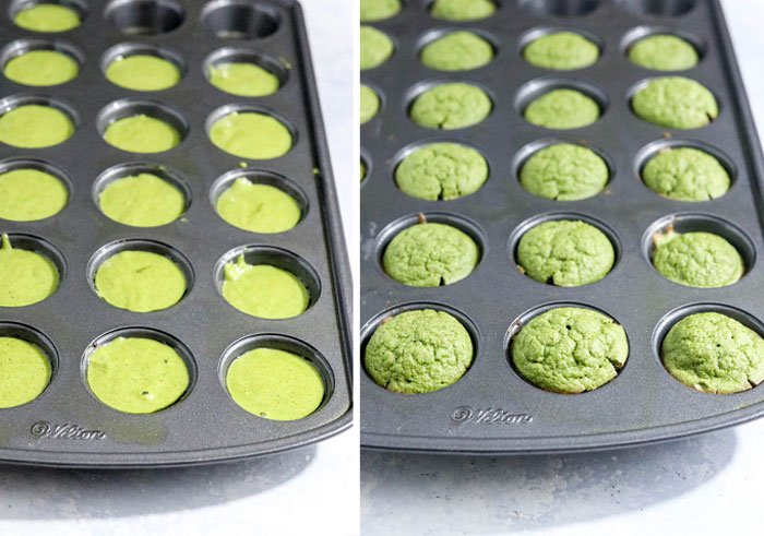before and after spinach muffins