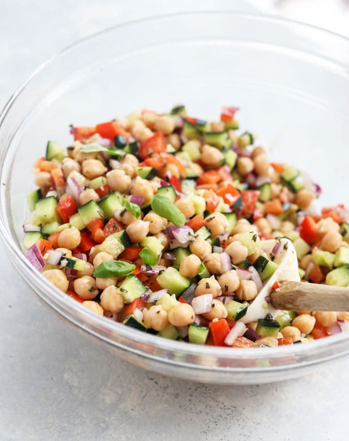 chickpea salad with red wine vinaigrette