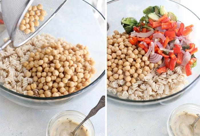 chickpea pasta salad with roasted veggies