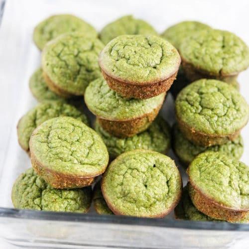 spinach muffins in a glass jar